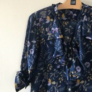 Gap Ruffle Button Down Floral Shirt